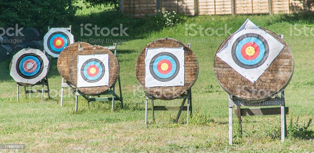 archery Station for training - Zielscheiben für Bogenschiessen stock photo