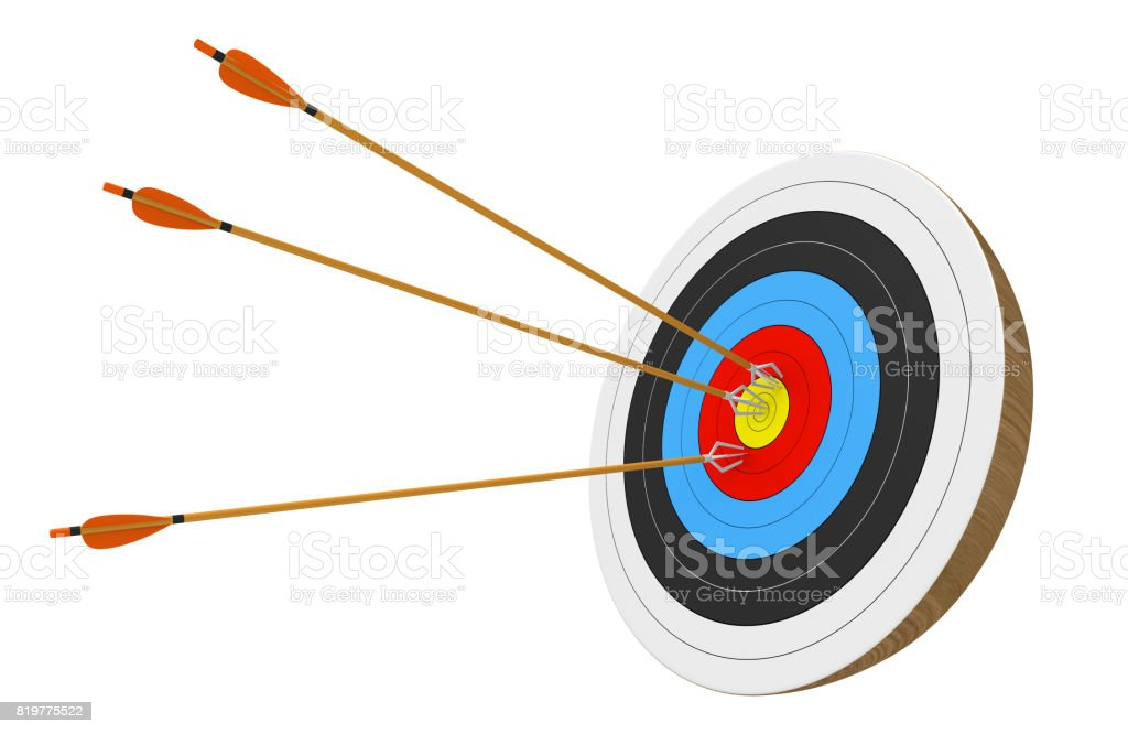Archery target isolated on white background with three arrows accurately stuck into the center ring, 3D rendering stock photo