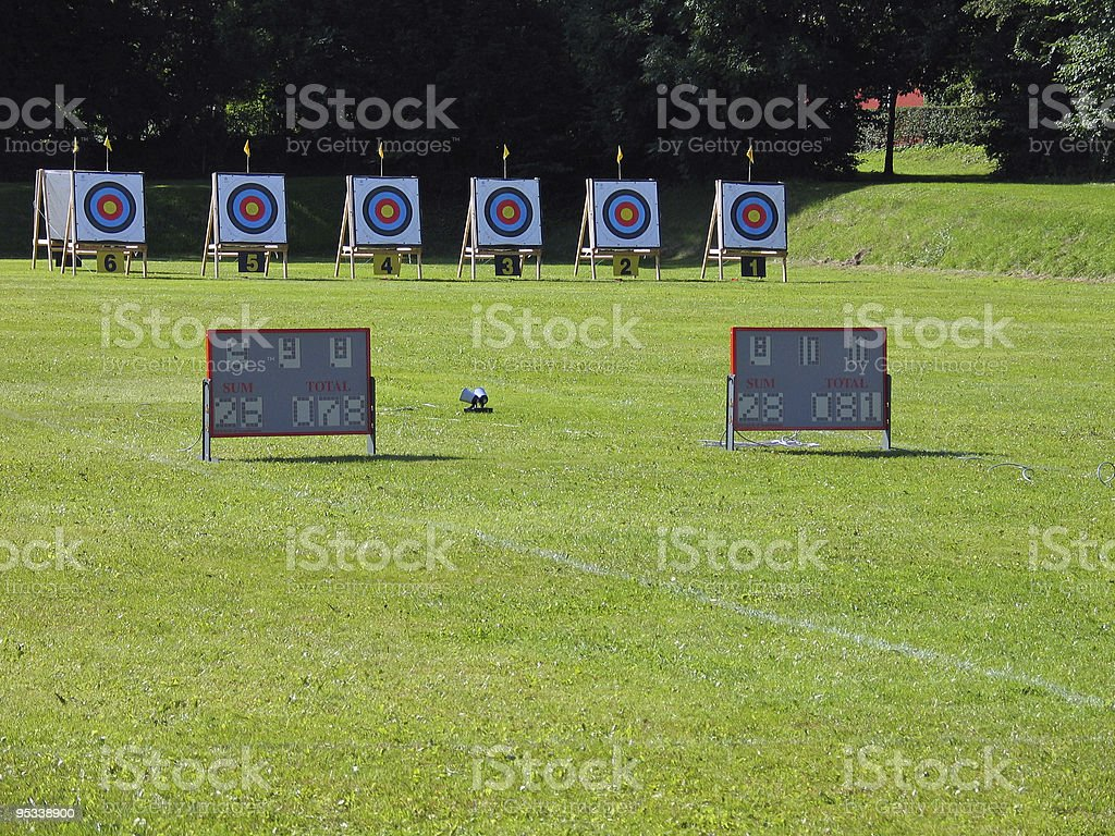 Archery targets in during competition royalty-free stock photo