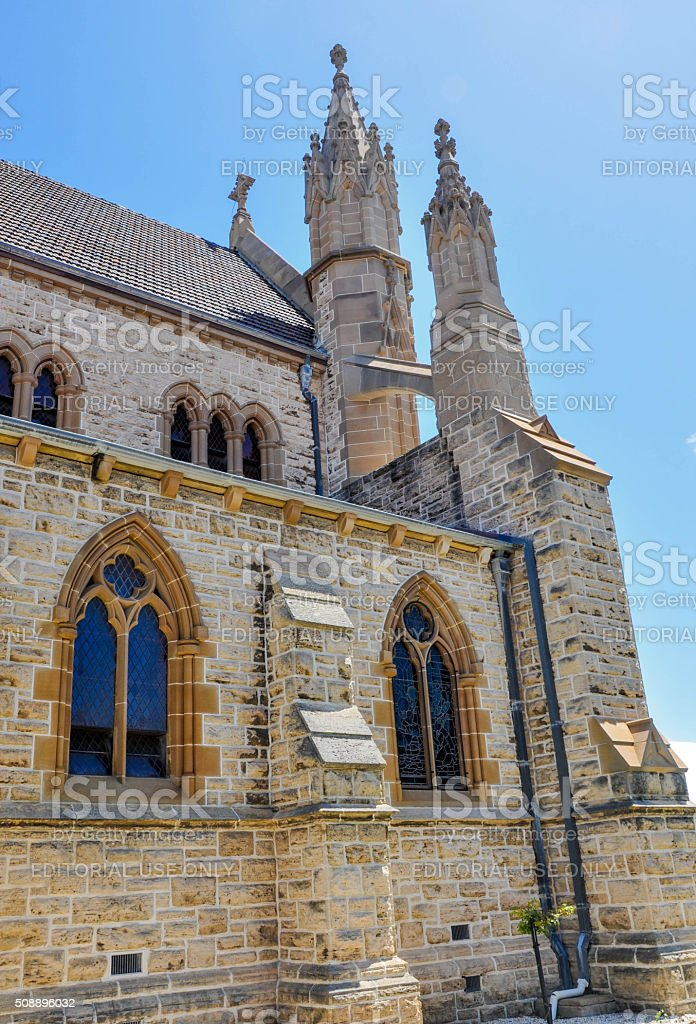 Arches and Buttresses: St. Patrick's Basilica stock photo