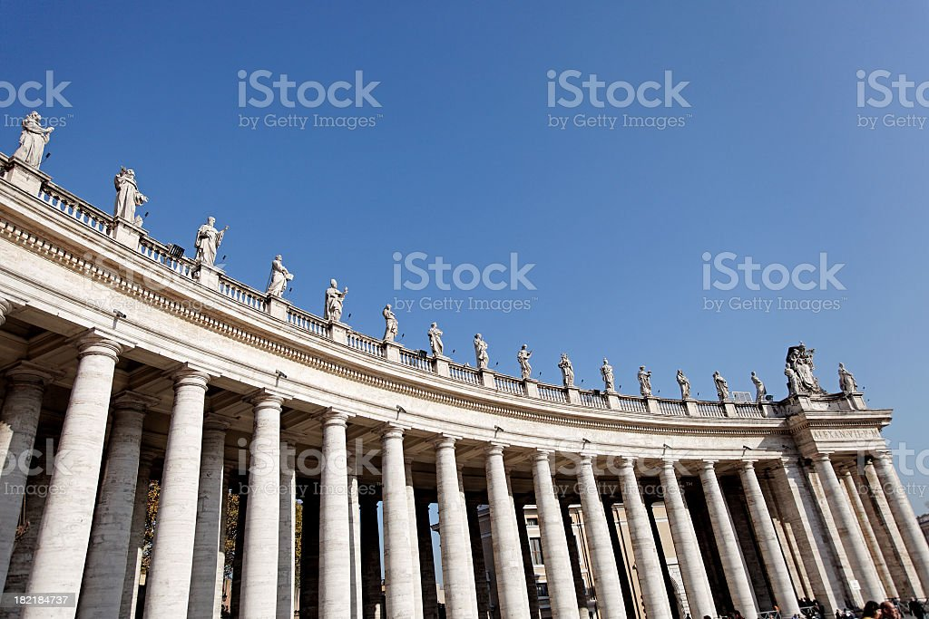 Arches and Colonnade on St. Peter Square royalty-free stock photo
