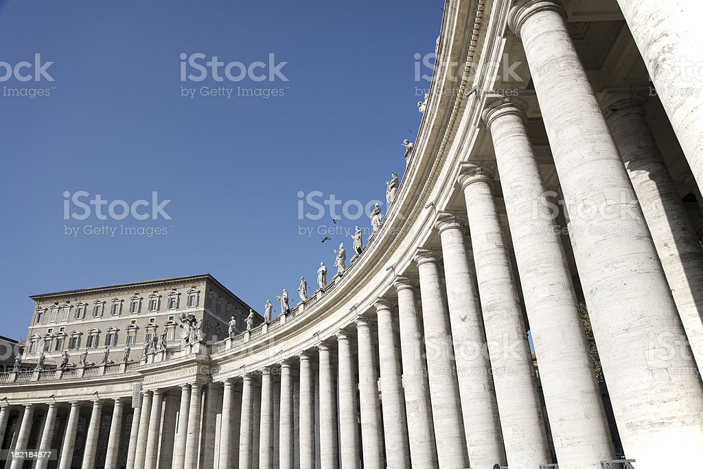 Arches and Colonnade on St. Peter Square stock photo