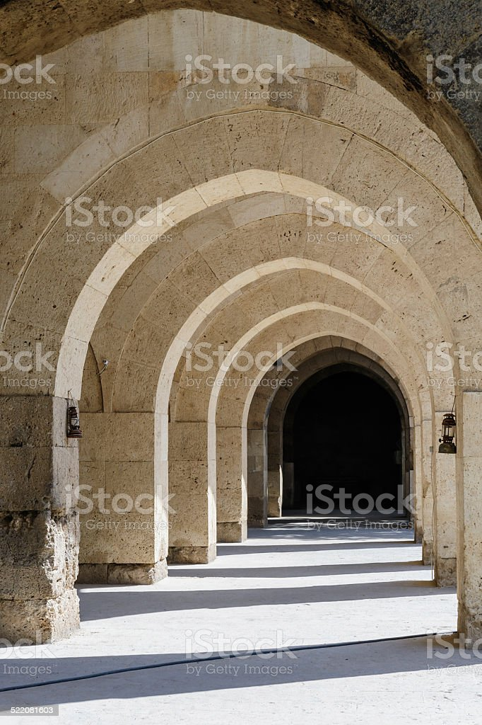 arches and columns in Sultanhani caravansary on Silk Road, Turkey stock photo