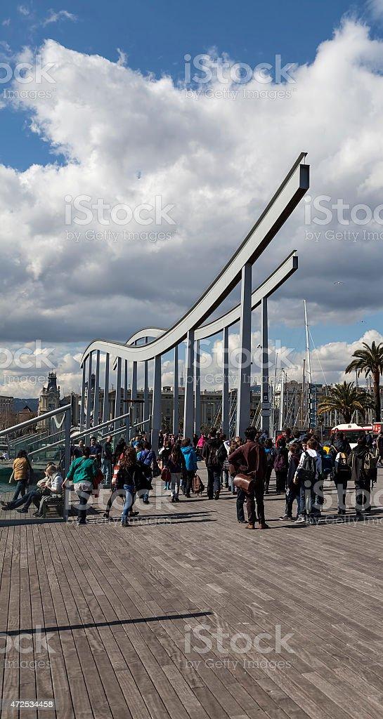 arches and curves at Rambla Del Mar, Barcelona royalty-free stock photo