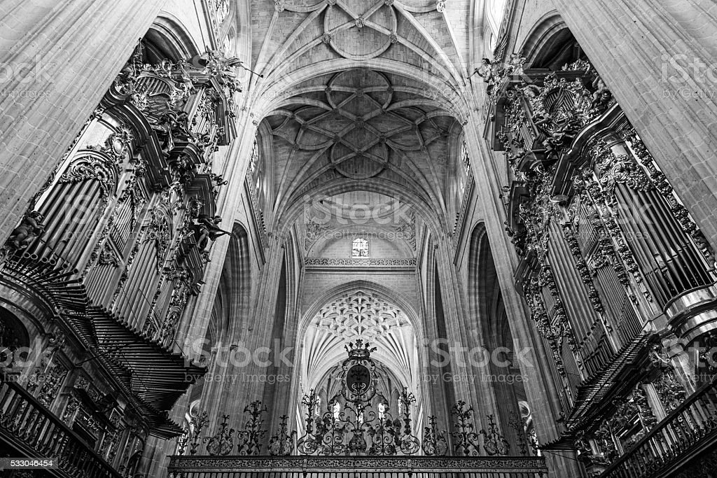 Arches and organs of Segovia Cathedral stock photo