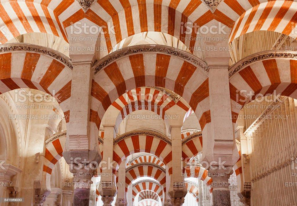 Arches and Pilars of the Mezquita de Cordoba stock photo