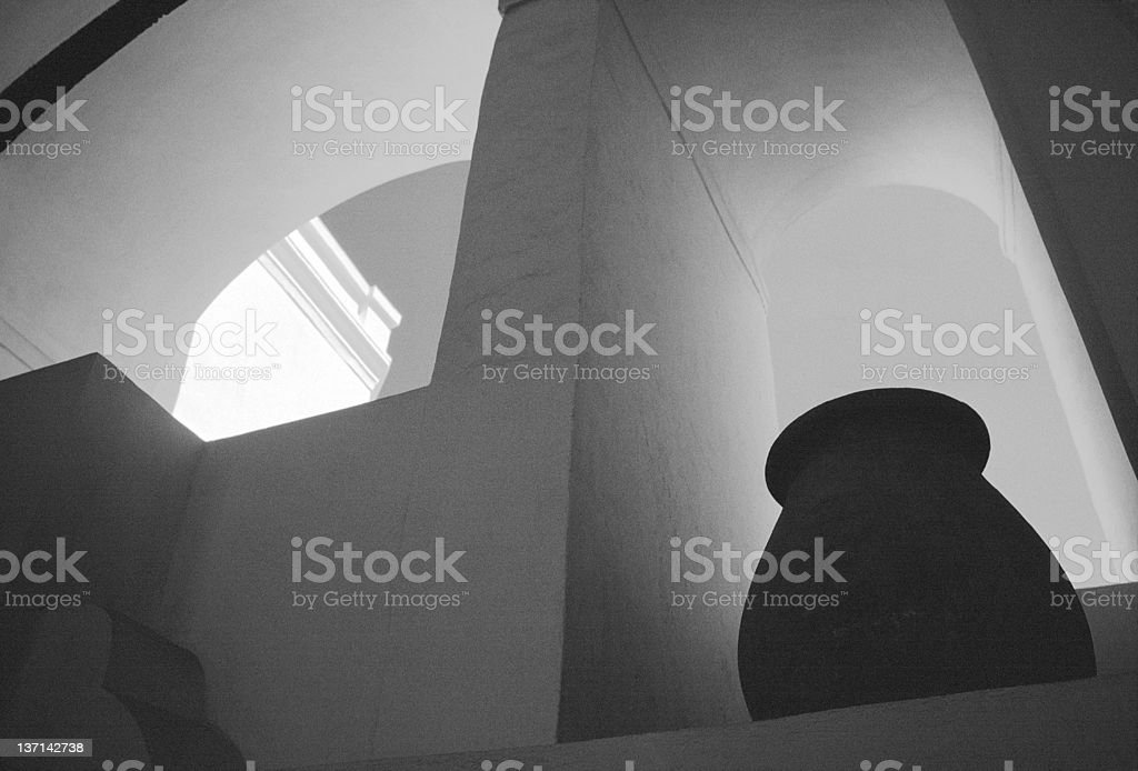 Arches and Vase, Oia, Santorini, Greece royalty-free stock photo
