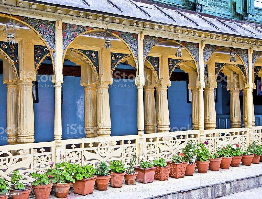 Arches carved wooden fence on Hanuman Dhoka  Palace in Kathmandu royalty-free stock photo
