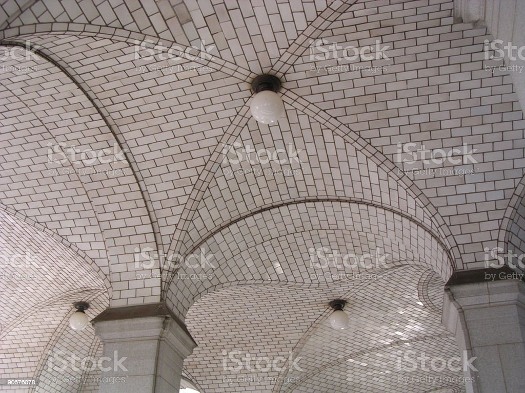 Arches, Columns, Ceiling, Lights royalty-free stock photo