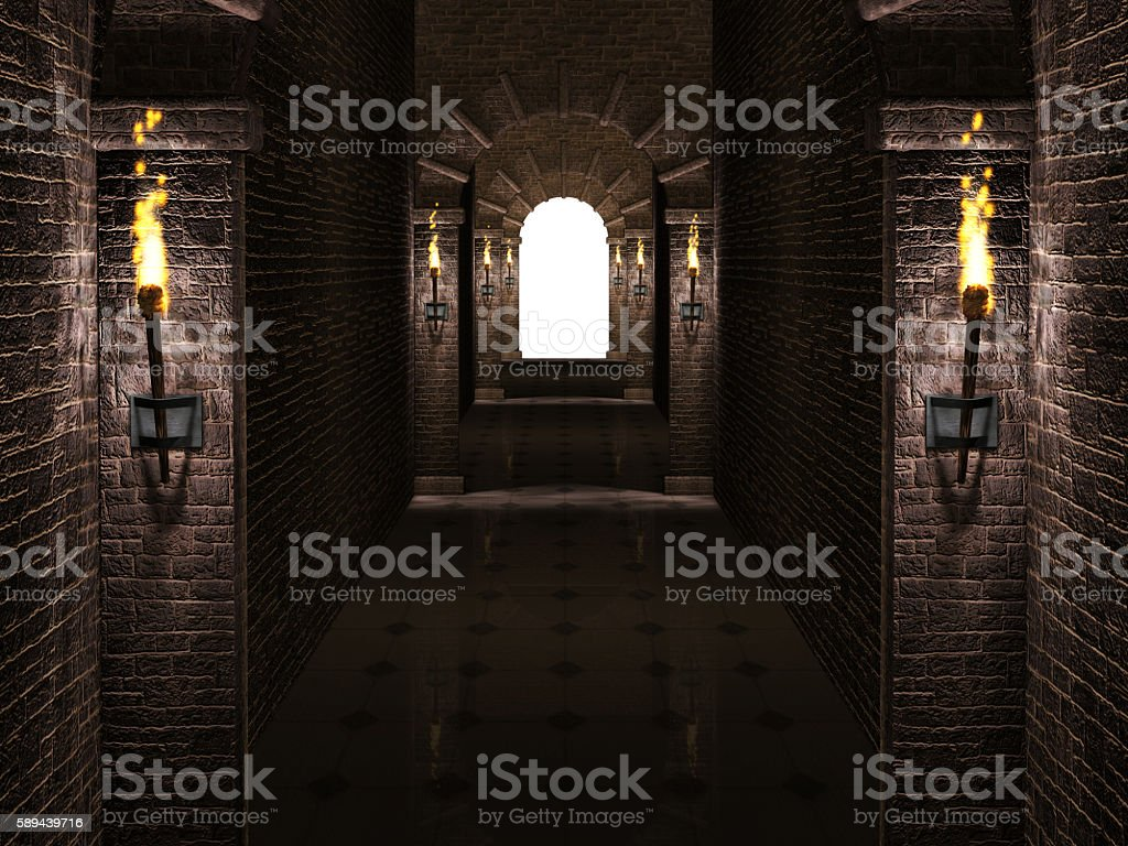 Arches corridor stock photo