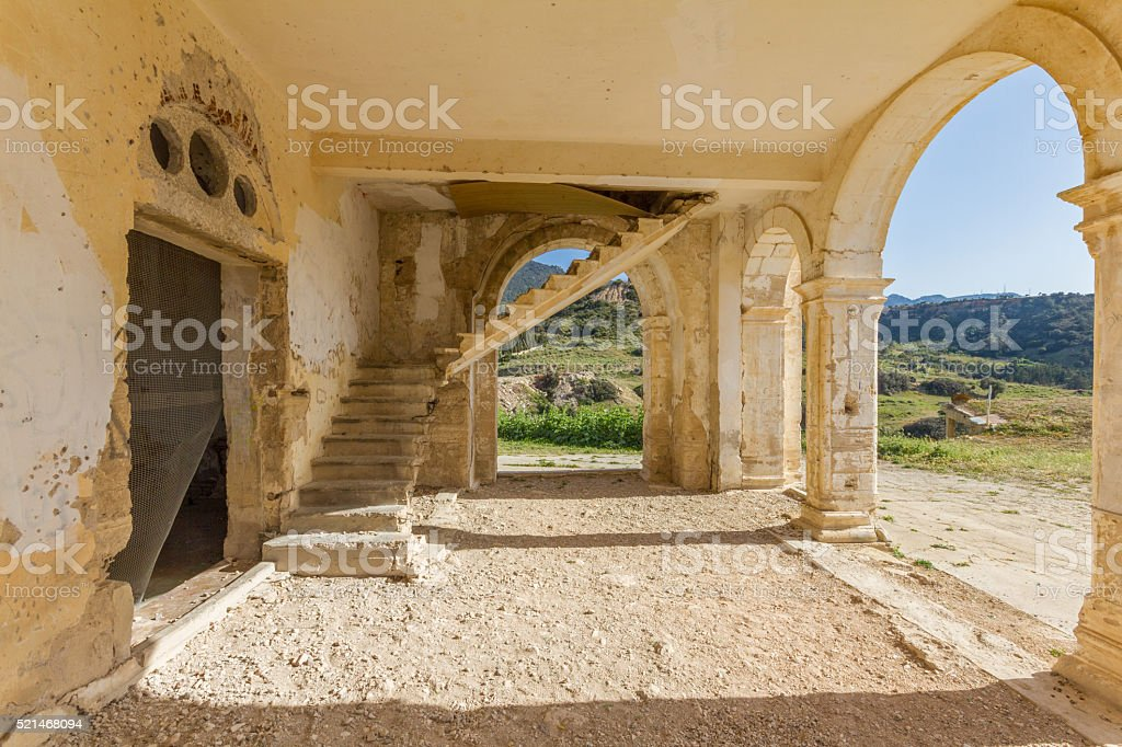 Arches, entrance and stairs of derelict Agios Georgios Church, D stock photo