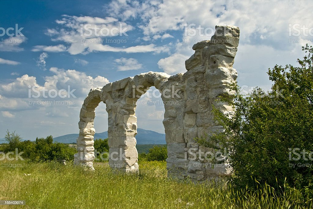 Arches in the ancient Burnum, Roman archeological site stock photo