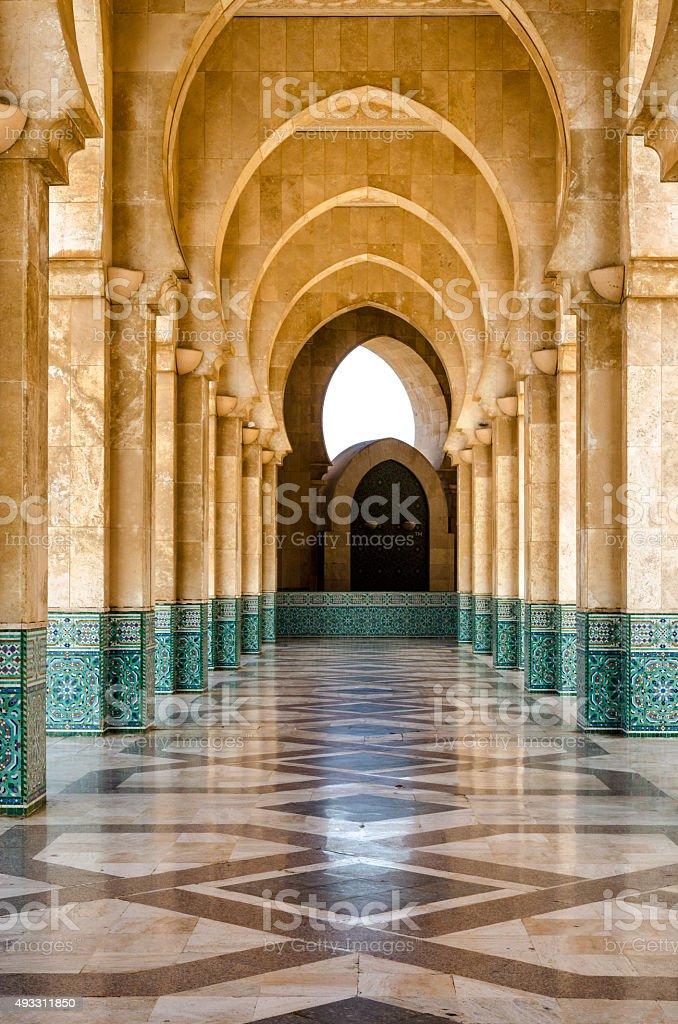 Arches, King Hassan II mosque, Casablanca, Morocco stock photo