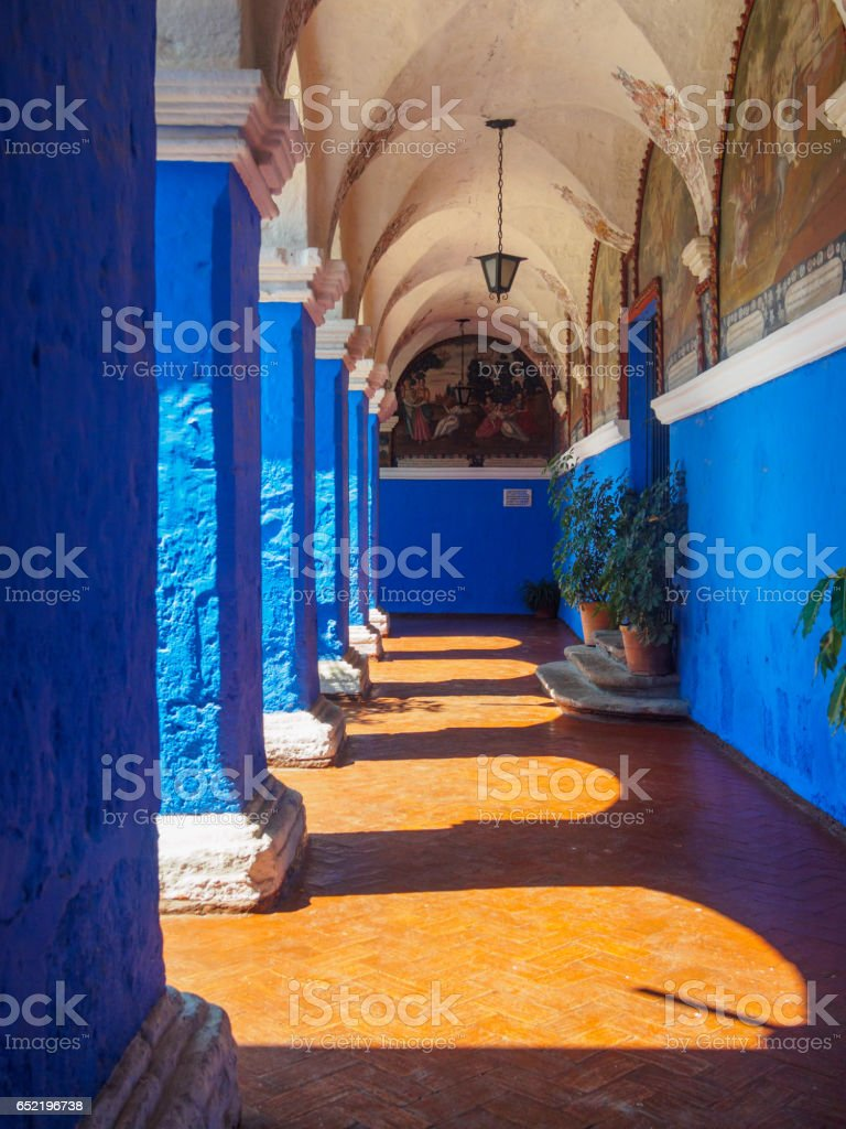Arches, lights and shadows in Santa Catalina Monastery of Arequipa stock photo