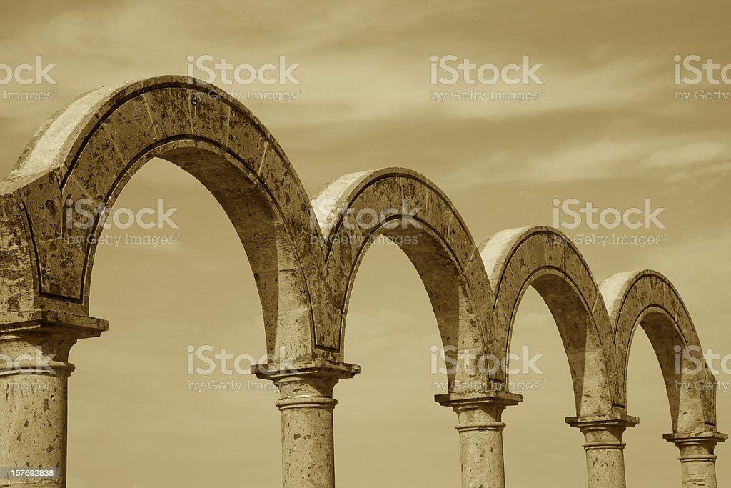 Arches, Malecón, Puerto Vallarta, Mexico, Sepia Toned, Architecture, Landmark royalty-free stock photo