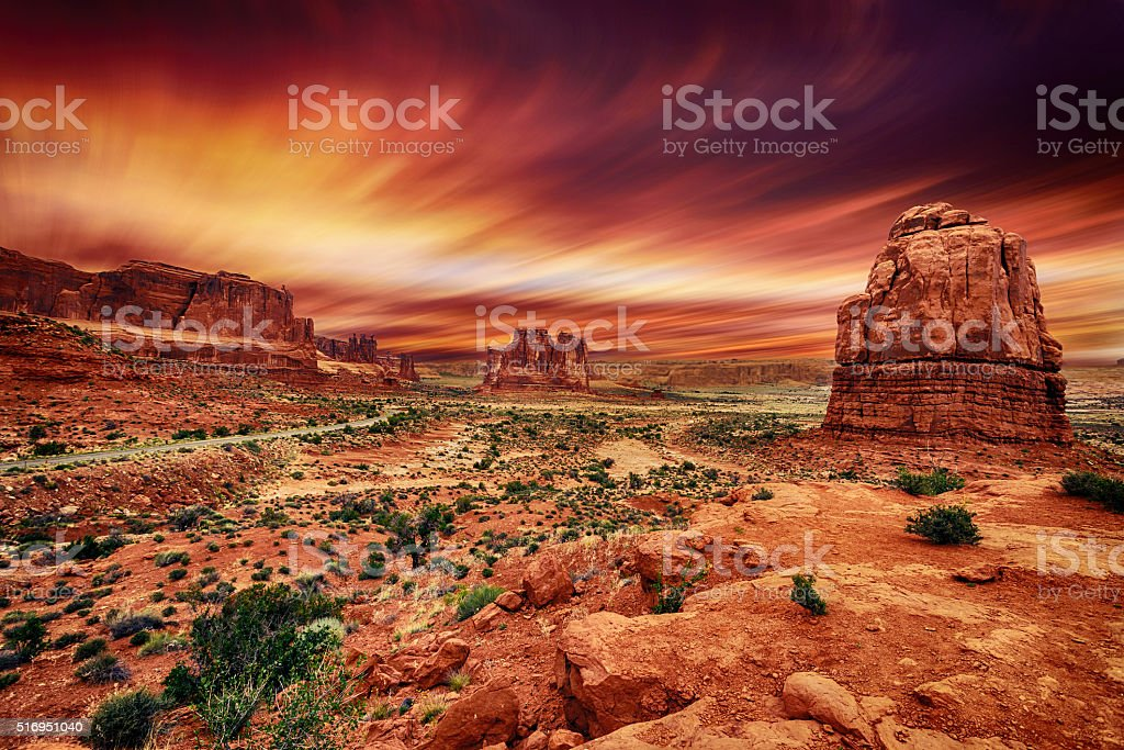 Arches National Park at Sunset stock photo