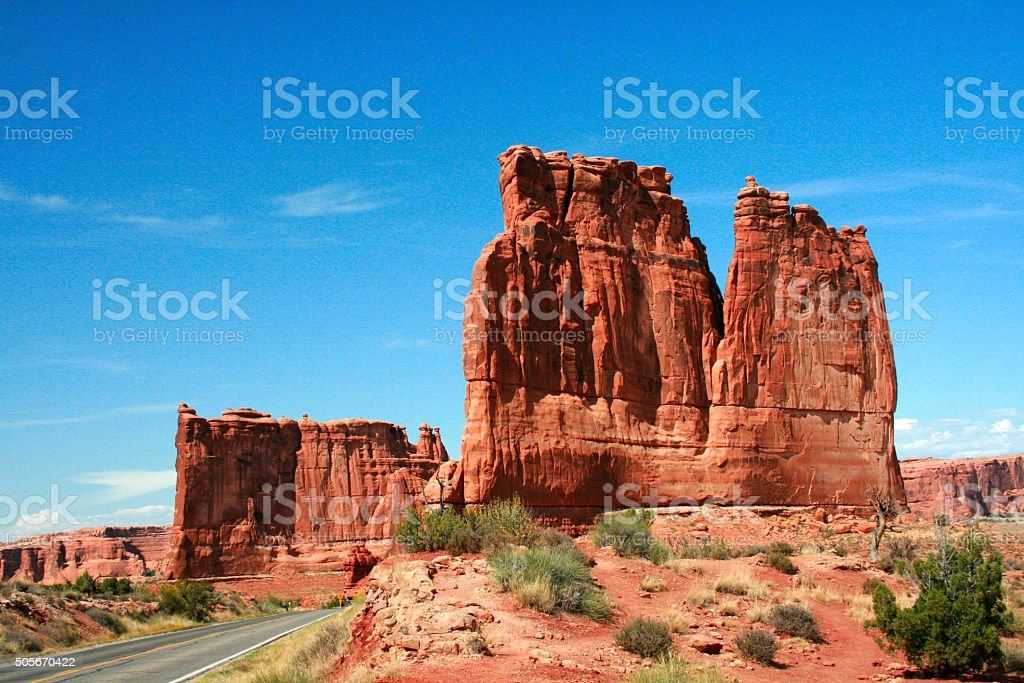 Arches National Park from a Utah Highway stock photo