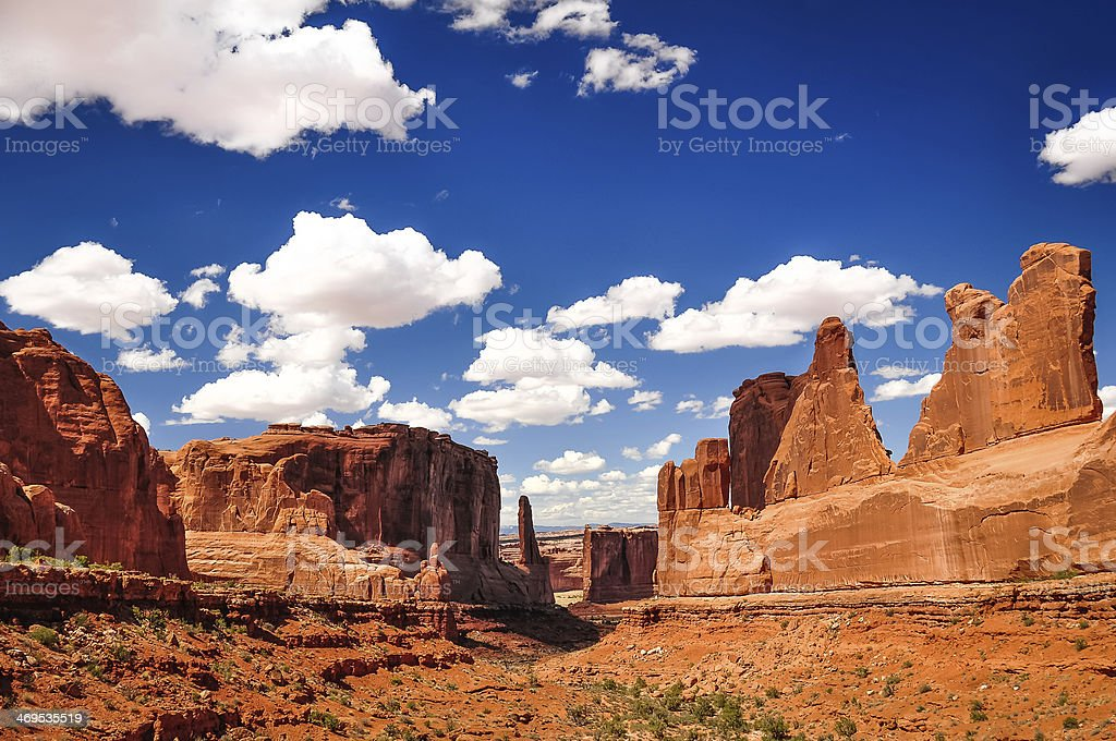 Arches National Park landscape view with blue sky and clouds stock photo