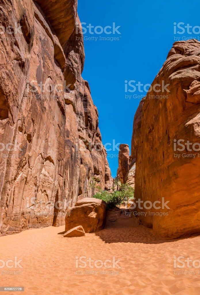 Arches National Park, Moab Desert. Sand, rocks and desert stock photo