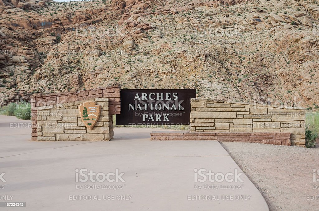 Arches National Park Sign stock photo