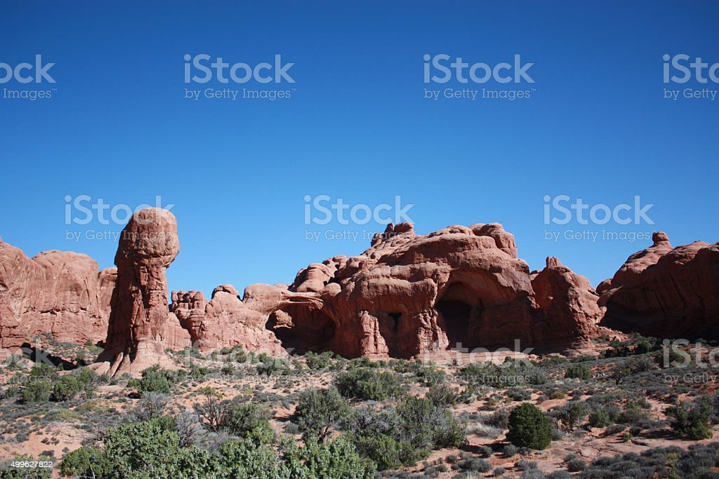 Arches National Park The great rock of Double Arch, Utah stock photo