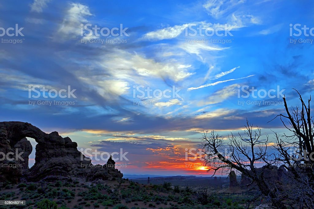 Arches National Park, The Windows stock photo