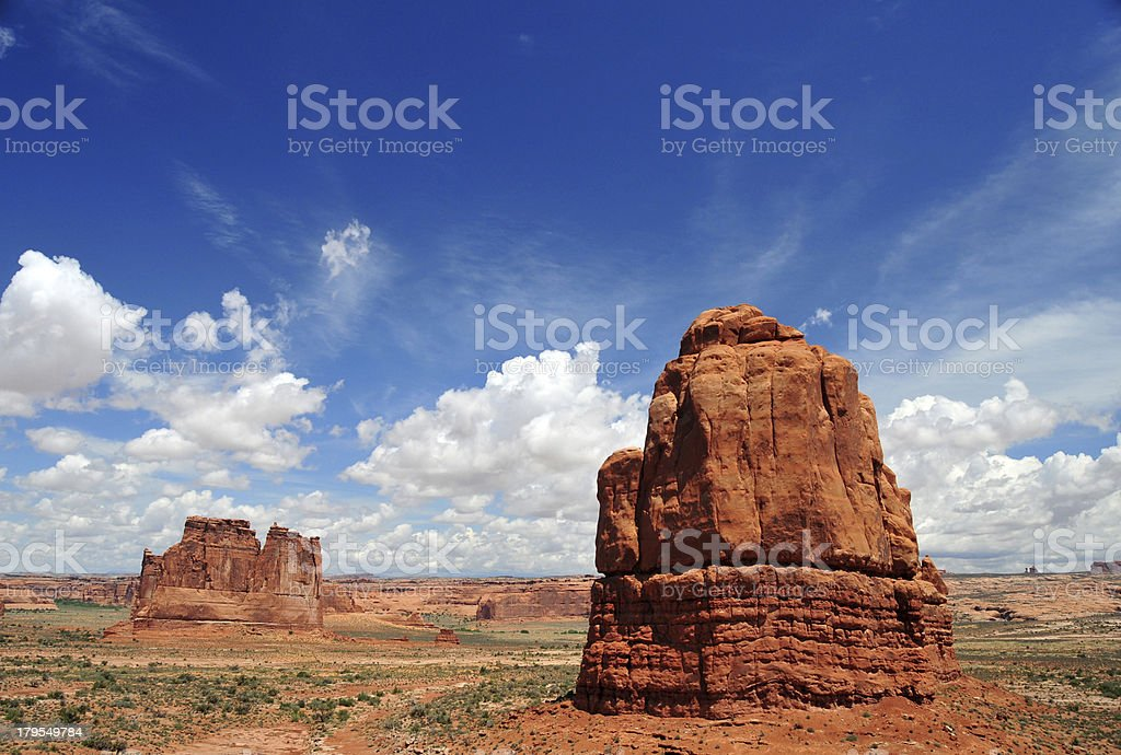 Arches National Park, Utah, USA: Courthouse Towers stock photo