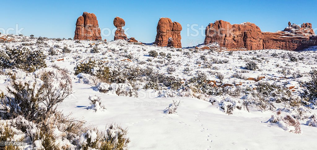 Arches National Park Utah USA Winter Landscape stock photo