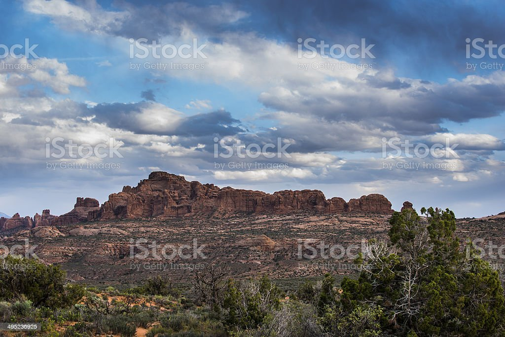 Arches National with cloudy sky royalty-free stock photo