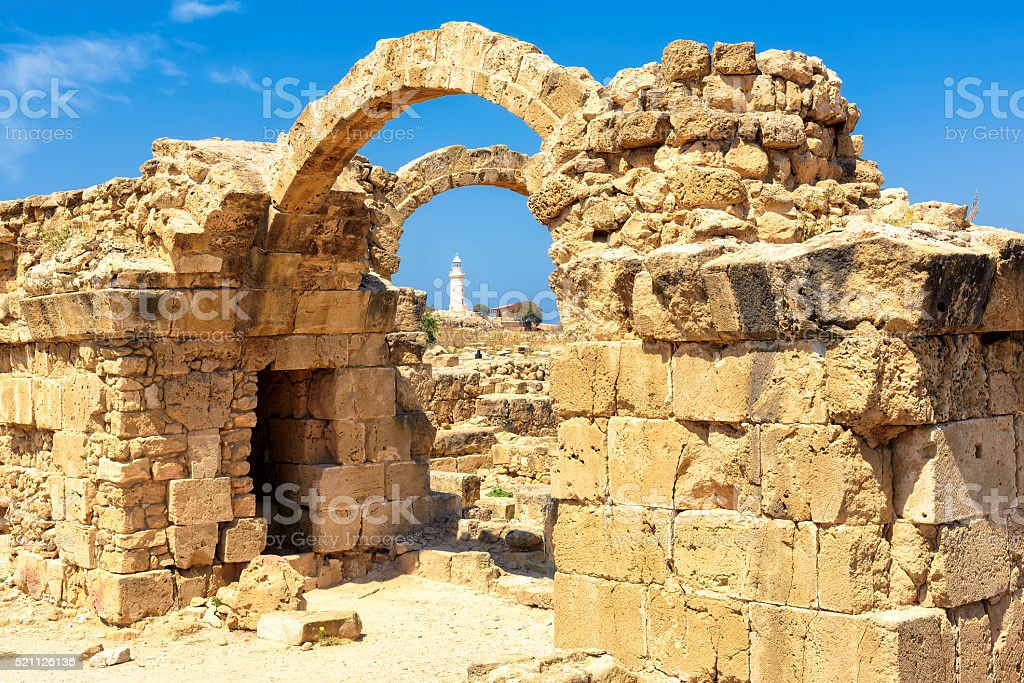 Arches of crusaders castle 'saranta kolones' in Paphos, Cyprus stock photo