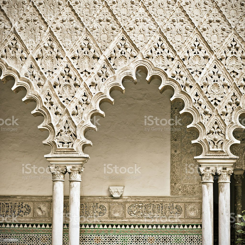 Arches of Reales Alcazares in Sevilla stock photo