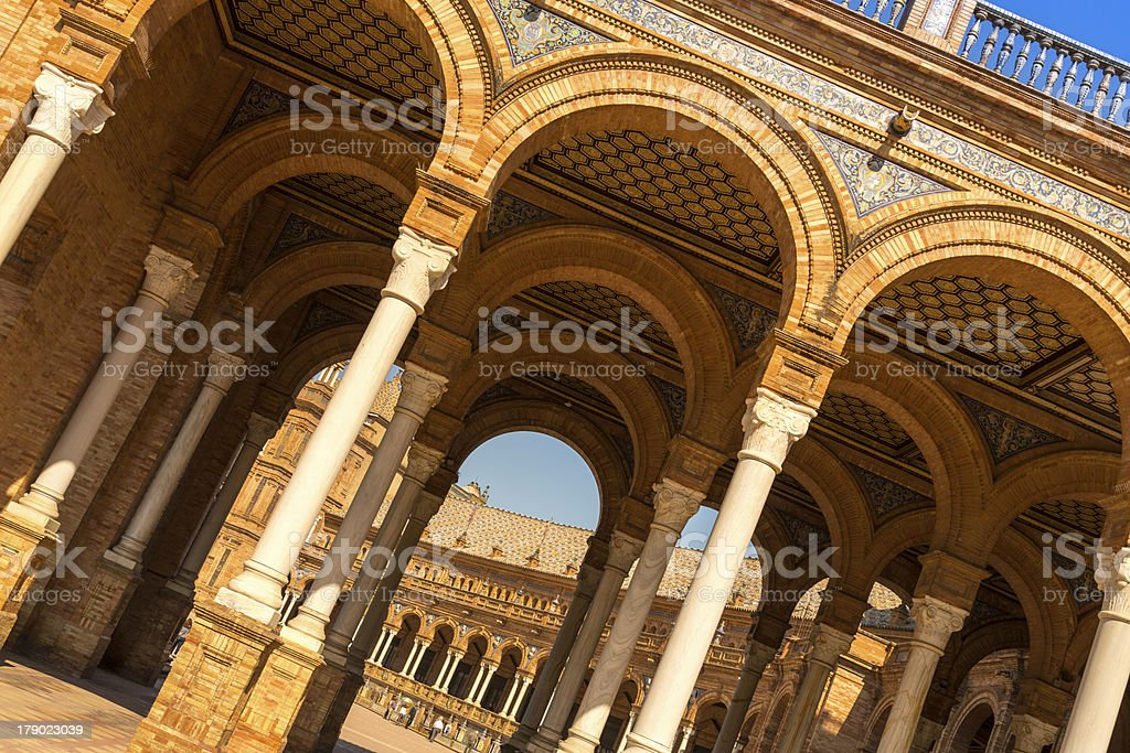 Arches of the main building, Plaza de Espana royalty-free stock photo