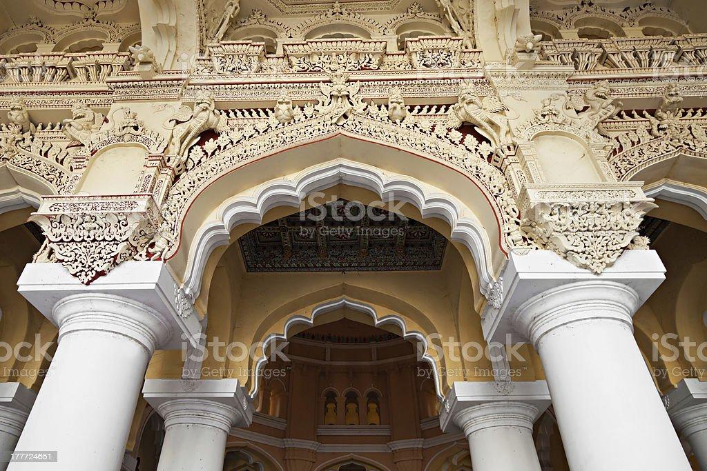 Arches of Thirumalai Palace royalty-free stock photo