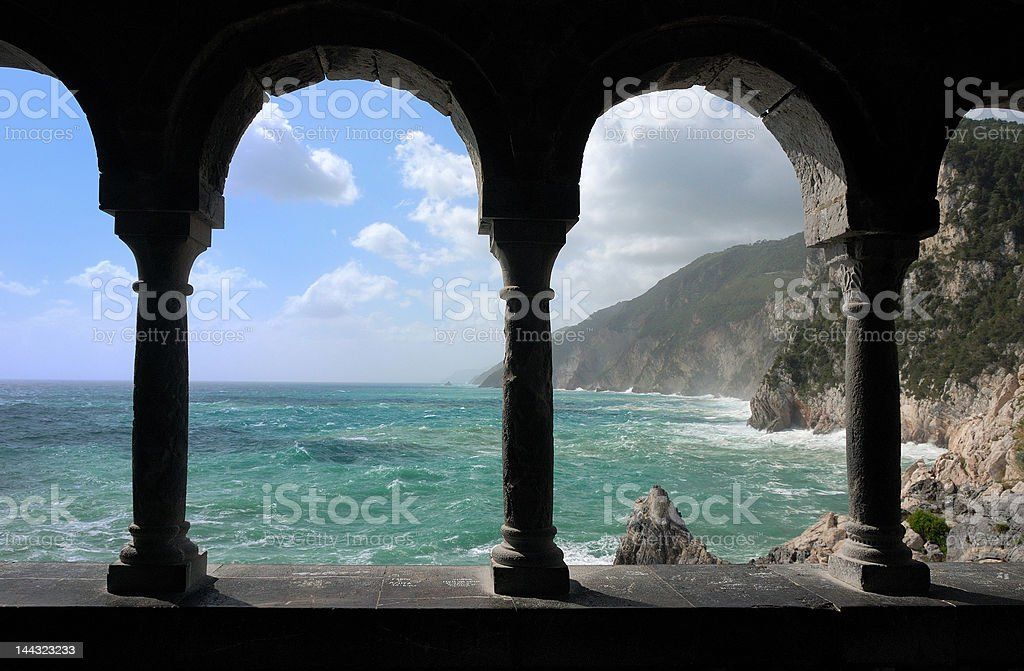 Arches on to the Mediterranean Sea stock photo