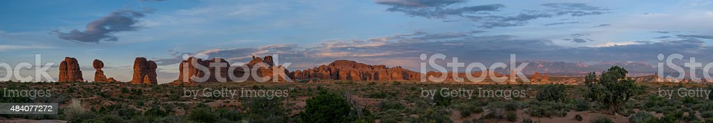 Arches Panorama at Dusk stock photo