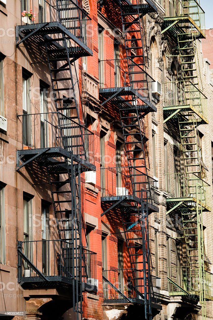 Archetypal Fire Escapes in New York City stock photo