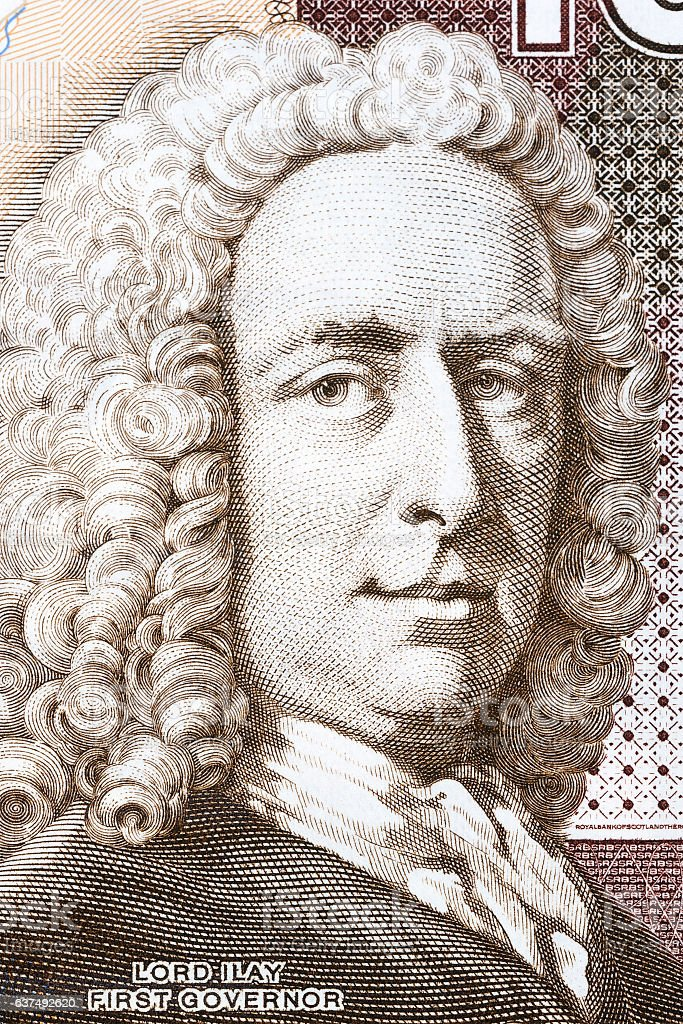 Archibald Campbell portrait from Scottish money stock photo