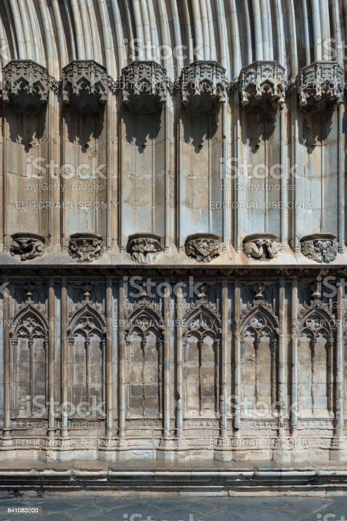 Archictural elements of Girona Cathedral stock photo