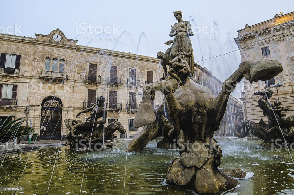 Archimede Square –Syracuse, Sicily royalty-free stock photo