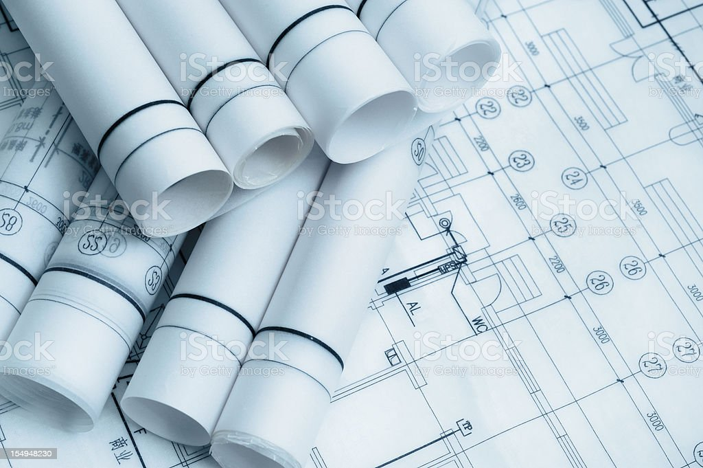 Architechure Bluepint Document and Paperwork For Construction Industry royalty-free stock vector art