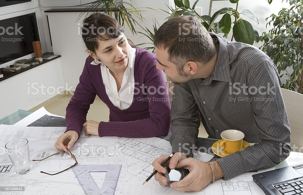 Architect and client meeting royalty-free stock photo