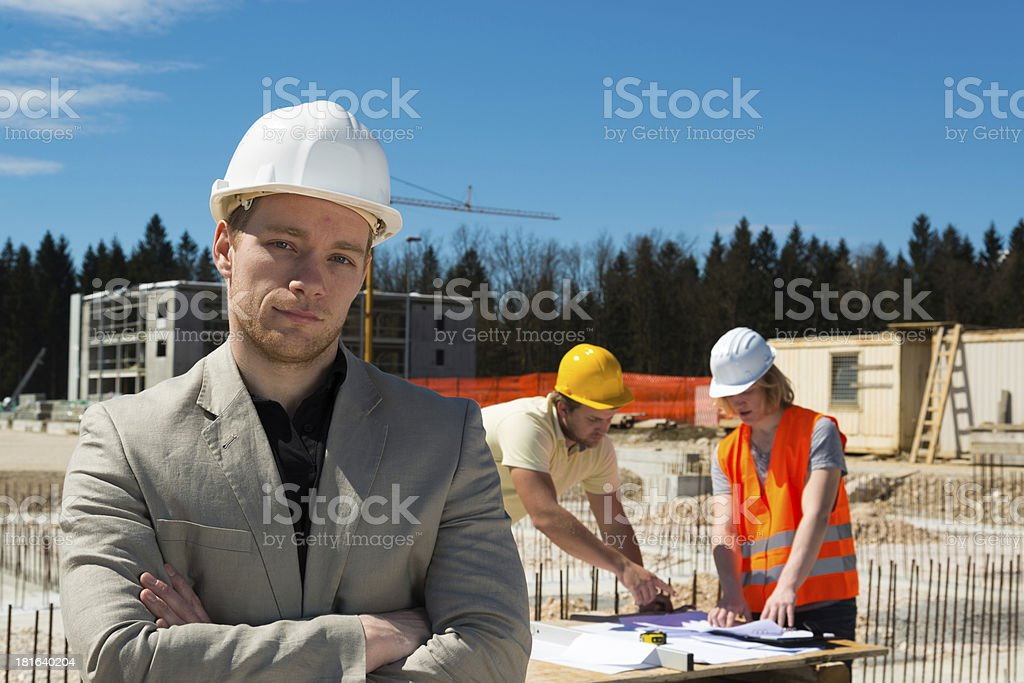 Architect and construction team royalty-free stock photo