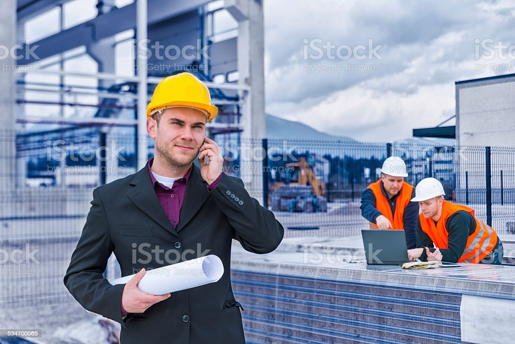 mobile phone construction worker manager engineer pictures, images