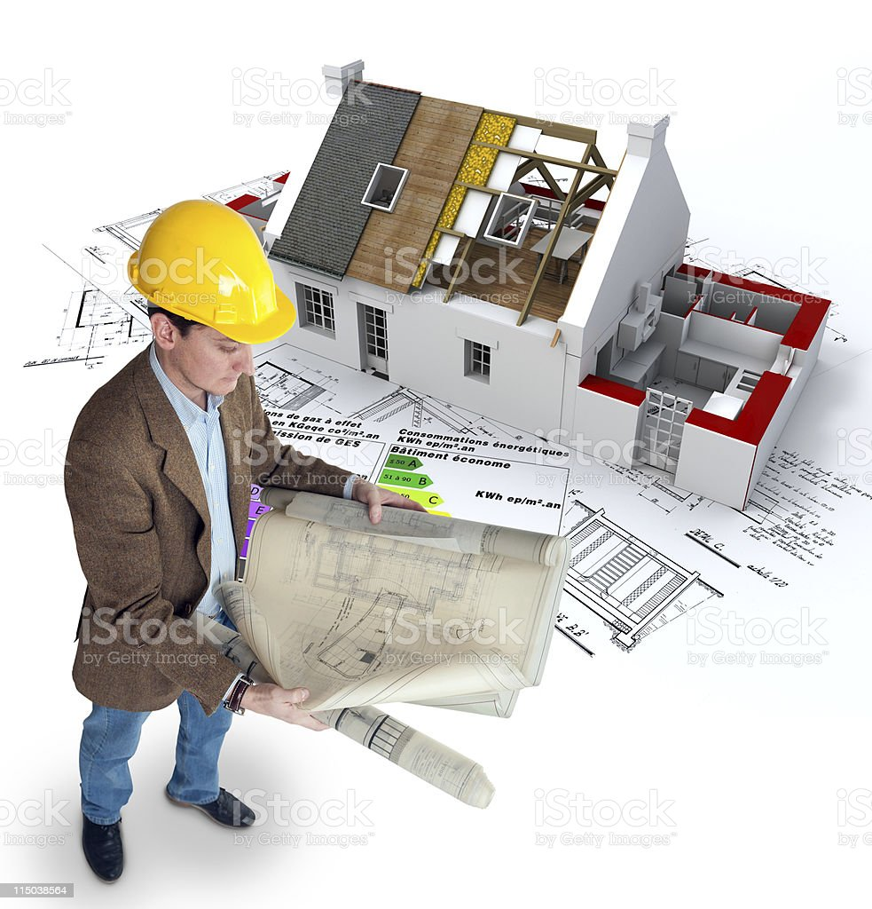 Architect and energy efficient home royalty-free stock photo