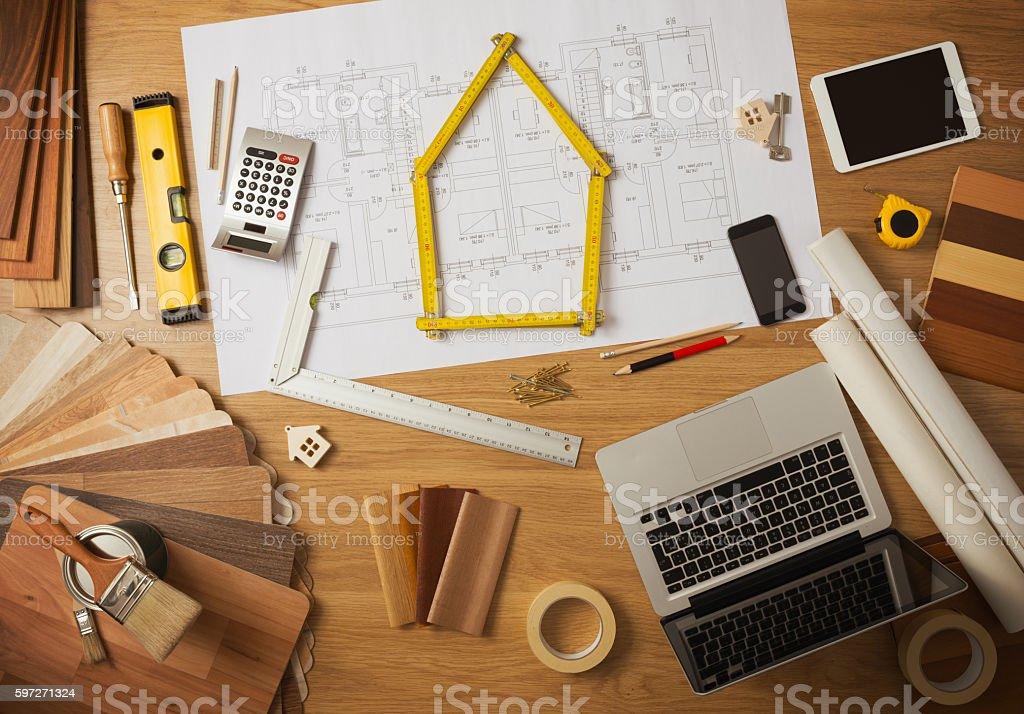 Architect and interior designer work table stock photo