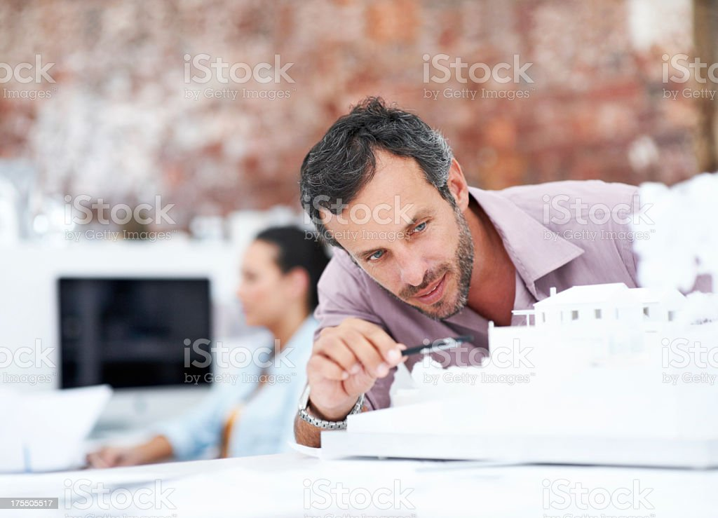 Architect and miniature model building stock photo