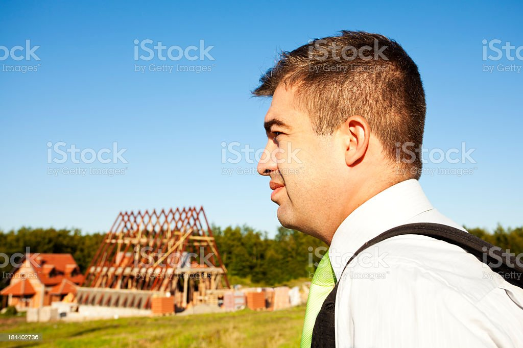 Architect Ariving at the Construction Site stock photo