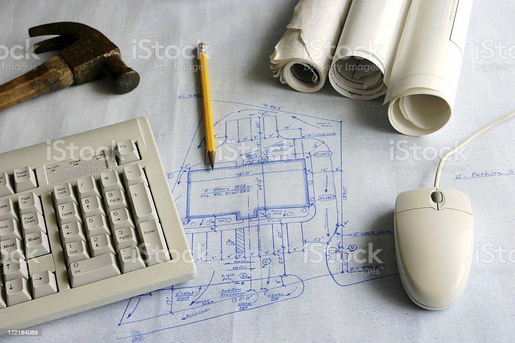 Architect Blueprint Desktop royalty-free stock photo