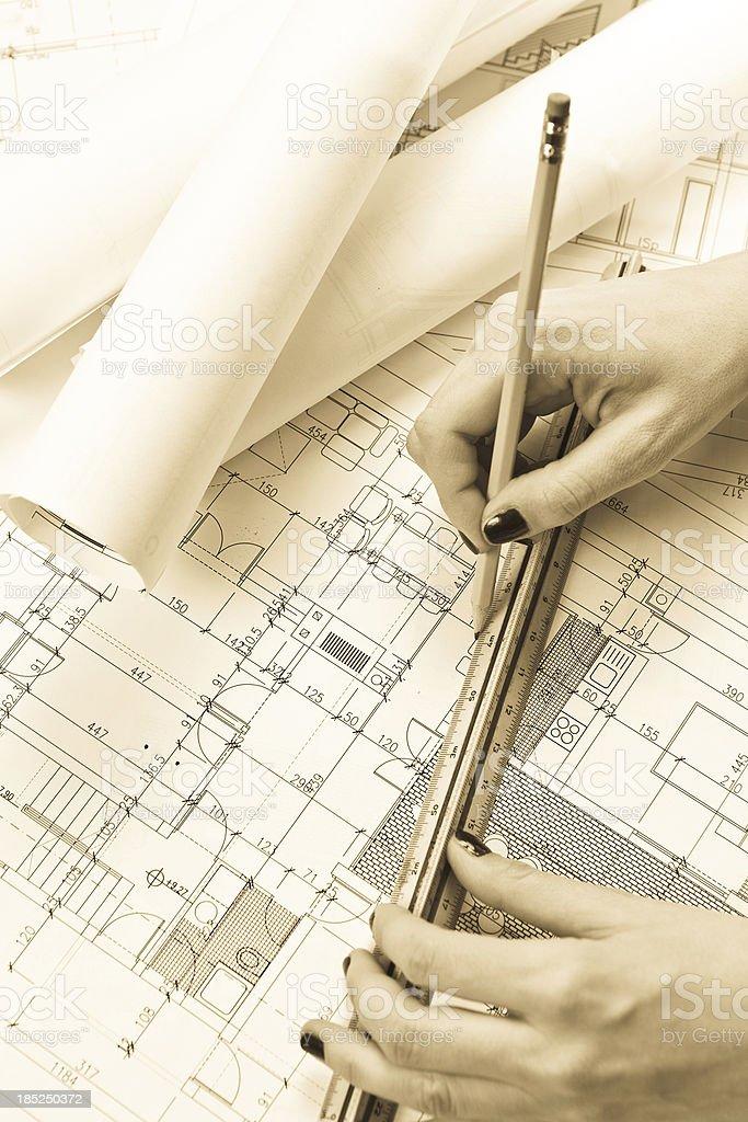 Architect, blueprints & Drawing Tools royalty-free stock photo