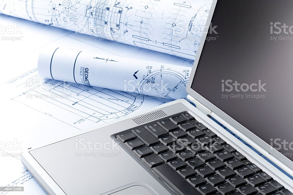 Architect Blueprints and Computer royalty-free stock photo